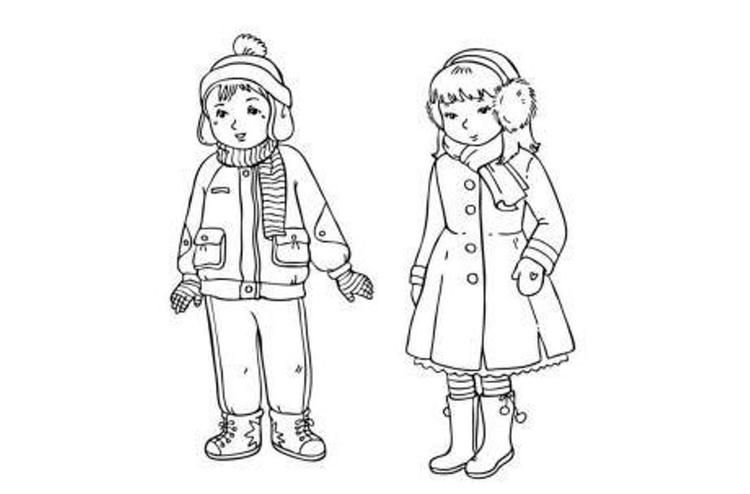 Winter Coloring Pages Clothes For Boy And Girl Coloring Pages