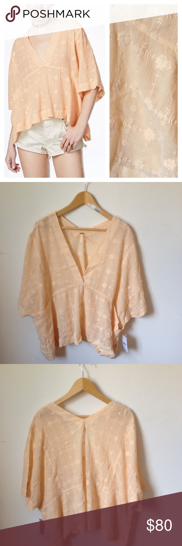 NEW Free People Amber Skies Flowy Top Blouse GORGEOUS top, super flattering, stylish and comfy! Lovely pale peach color with beautiful light embroidered details, slightly translucent. Oversized fit. Brand new with tags. Free People Tops