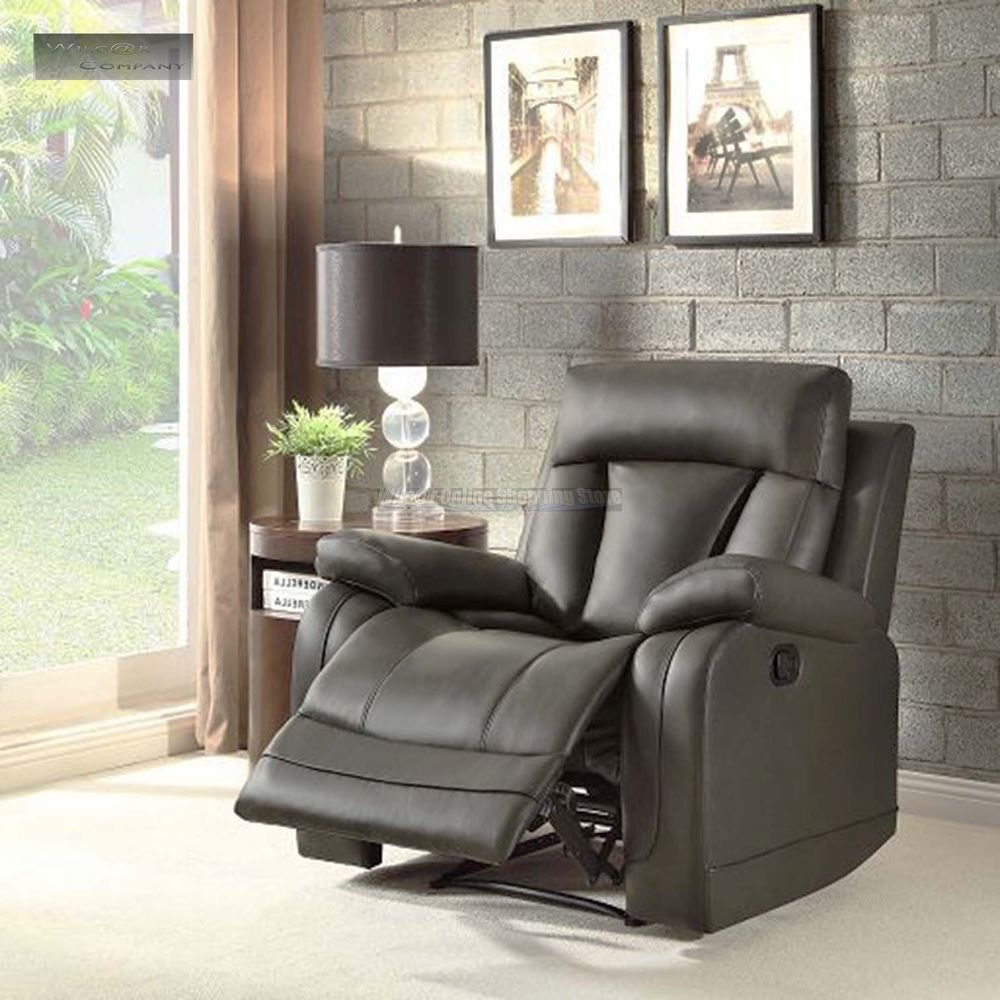 Room Grey Gray Leather Recliner Lazy