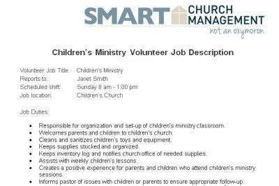 ChildrenS Ministry Volunteer Job Description  Church Managment