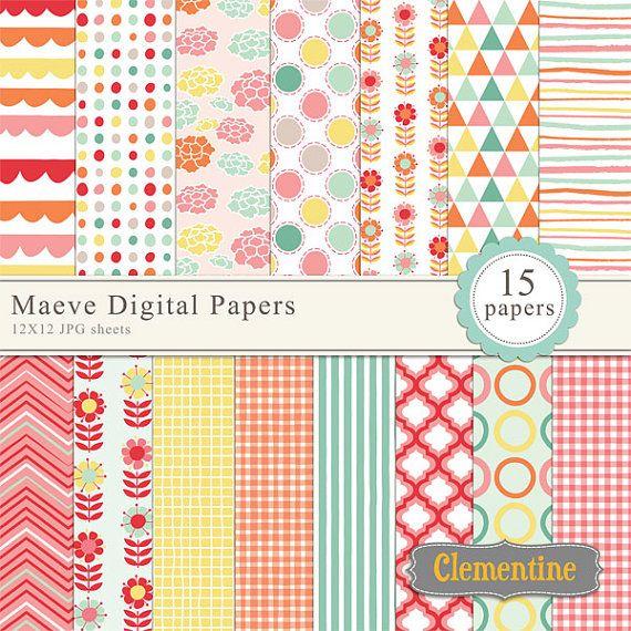 15 Digital papers Zig Zag Digital Scrapbook Paper Pack 12x12-300 dpi