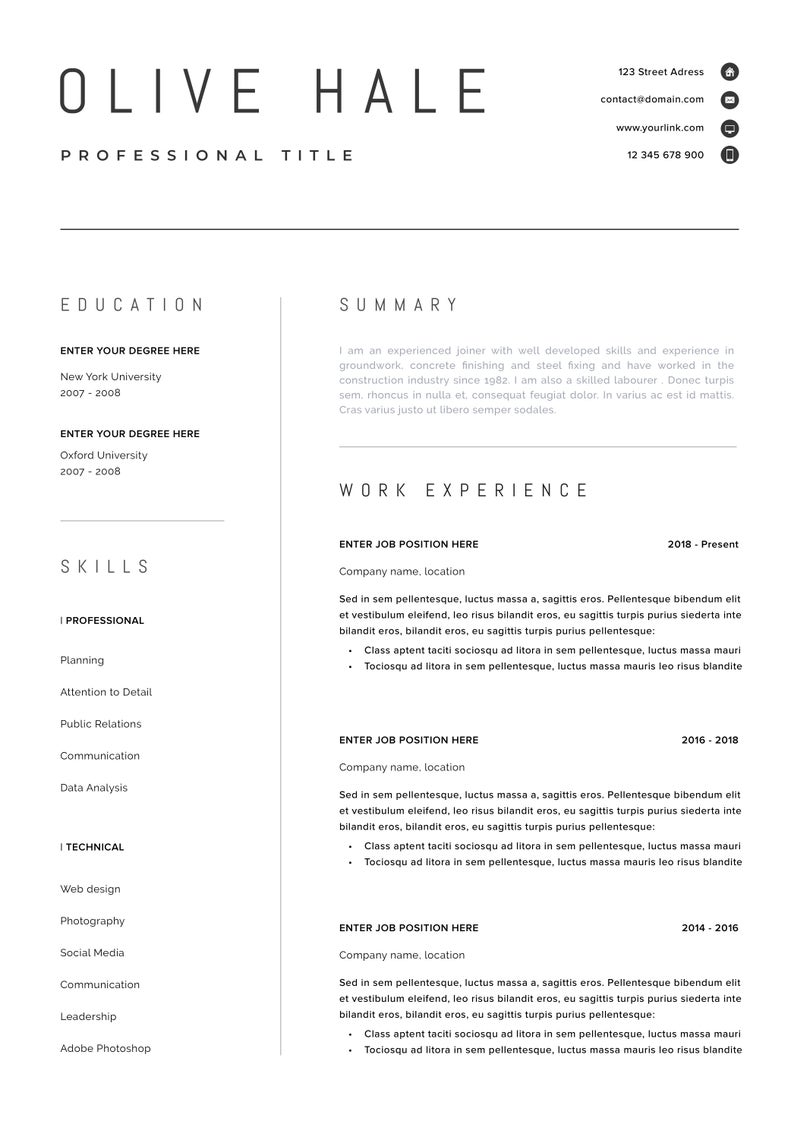 Professional Resume Template Clean Modern Resume Template One Page Resume Instant Download Resume Cv Template For Word San Diego In 2021 Resume Template Professional Modern Resume Template Resume Template Etsy