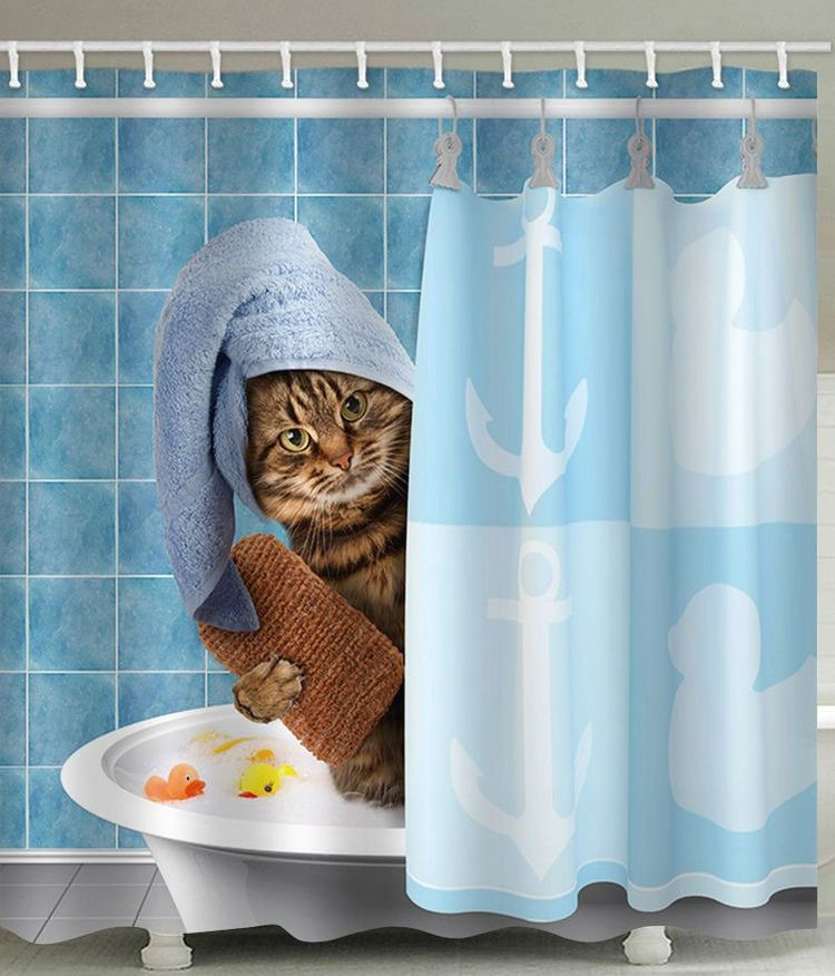 Pin By Soapen On Cats Cat Shower Curtain Bathroom Curtains Bathroom Shower Curtains