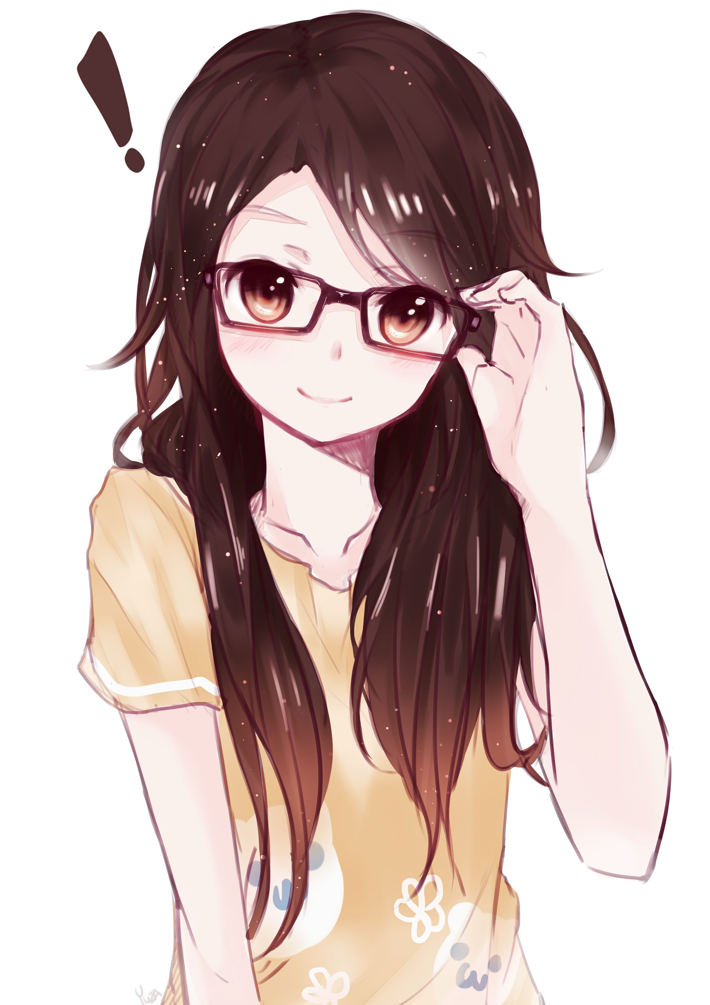 Anime Girl With Glasses Sketch