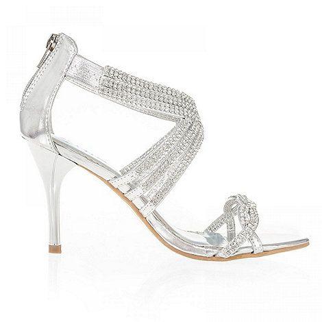 c67420018a9f Quiz Silver Diamante Cross Design Sandals- at Debenhams.com ...