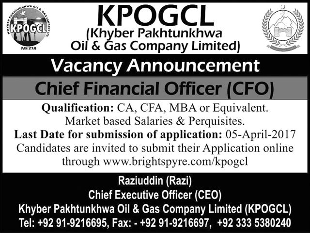 Khyber Pakhtunkhwa Oil And Gas Company Limited Jobs 2017 Jobs In