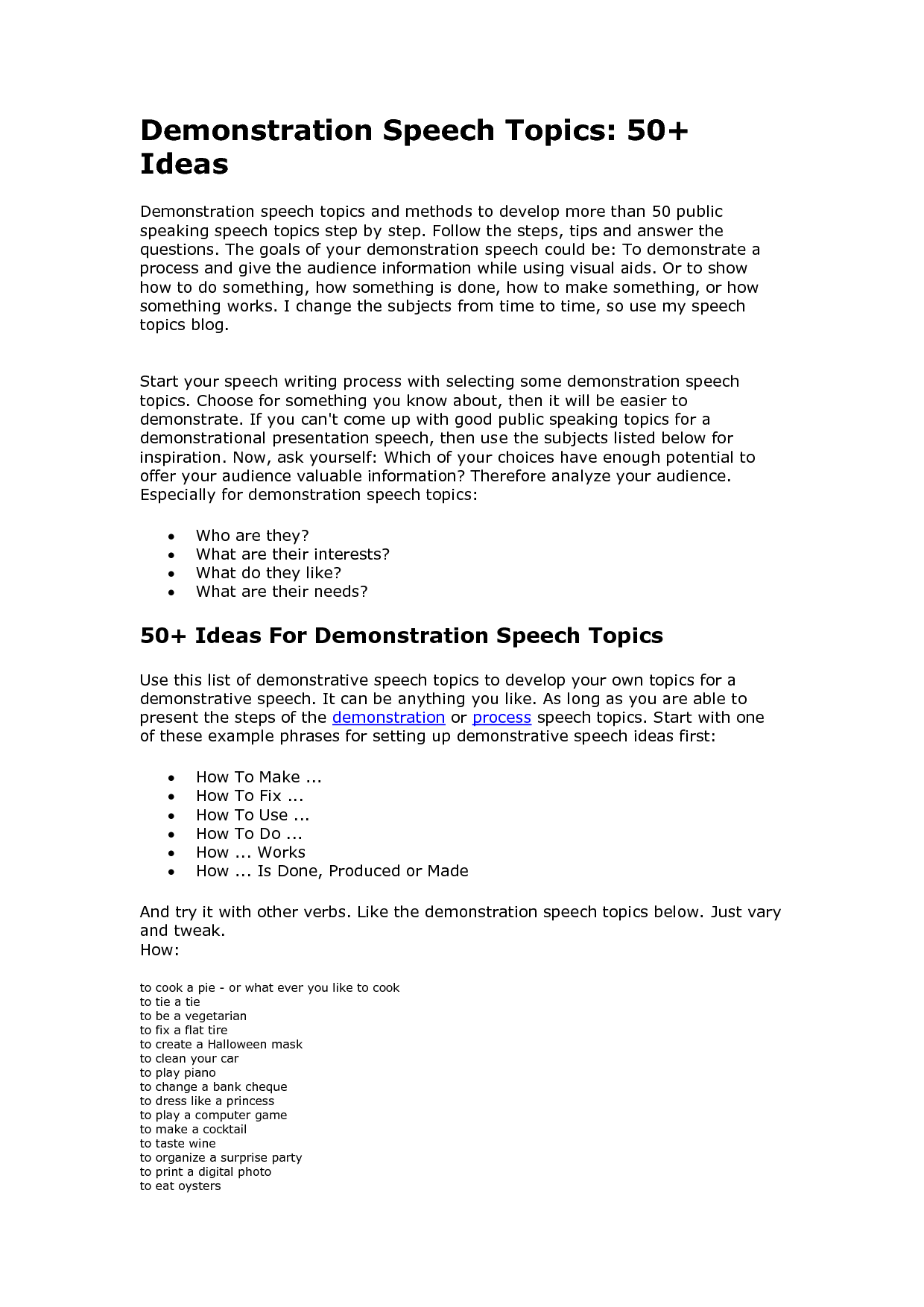 Demonstration Speech Ideas