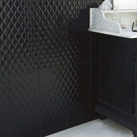 Carrelage Mural Noir Décor Chic X Cm Home Projects - Carrelage salle de bain noir brillant