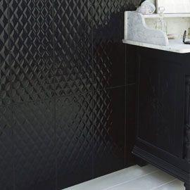Carrelage mural noir d cor chic 25 x 56 cm cr dence for Carrelage mural cuisine noir