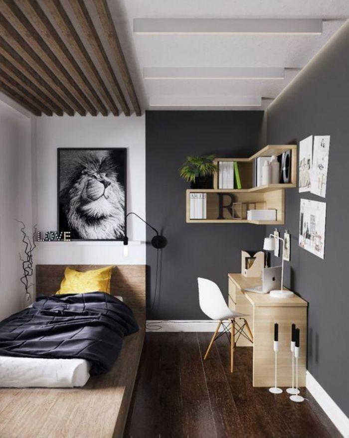 chambre 9m2, aménagement studio 20m2, murs gris, plafond