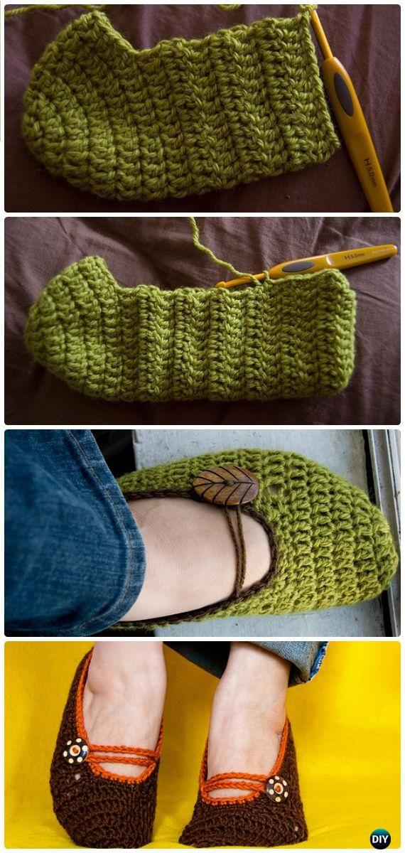 Crochet Mary Jane Zapatillas Patrón libre - Crochet Patrones Mujeres ...