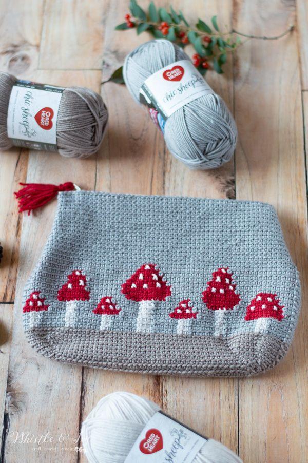 Crochet Mushroom Pouch - Free Crochet Pattern