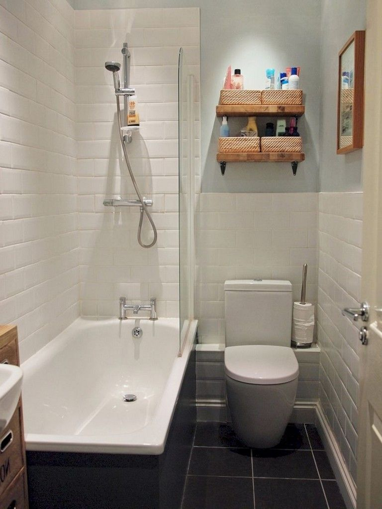 40 Tiny Bathrooms With Bathtub Ideas Apartment Bathroom Design Small Apartment Bathroom Small Space Bathroom Design