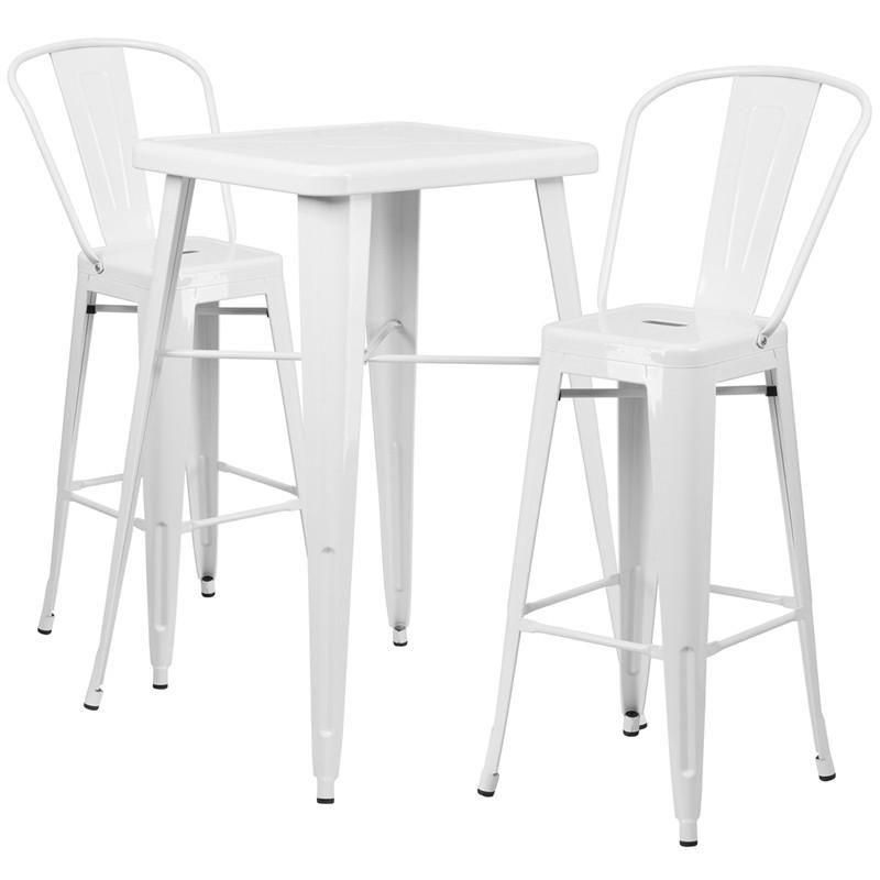 Enjoyable 23 75 Square Metal Indoor Outdoor Bar Table Set With 2 Customarchery Wood Chair Design Ideas Customarcherynet