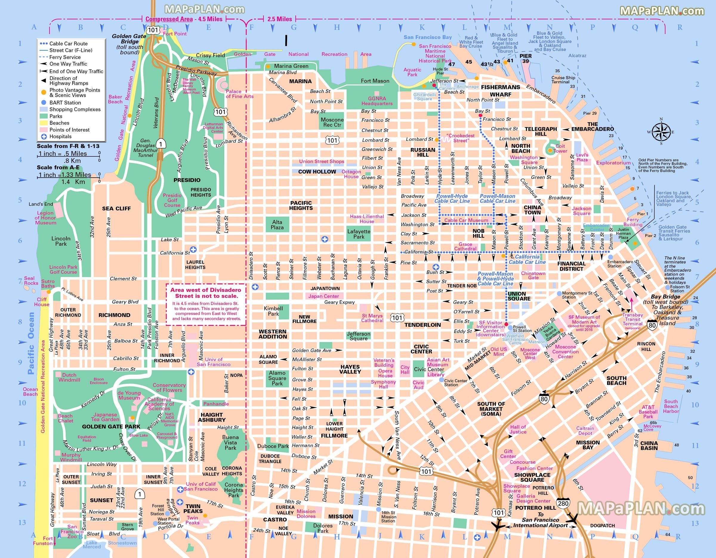 San Francisco Sightseeing Map Michigan Map
