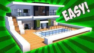 Case Moderne Minecraft : Minecraft modern house tutorial! [how to build] realistic modern