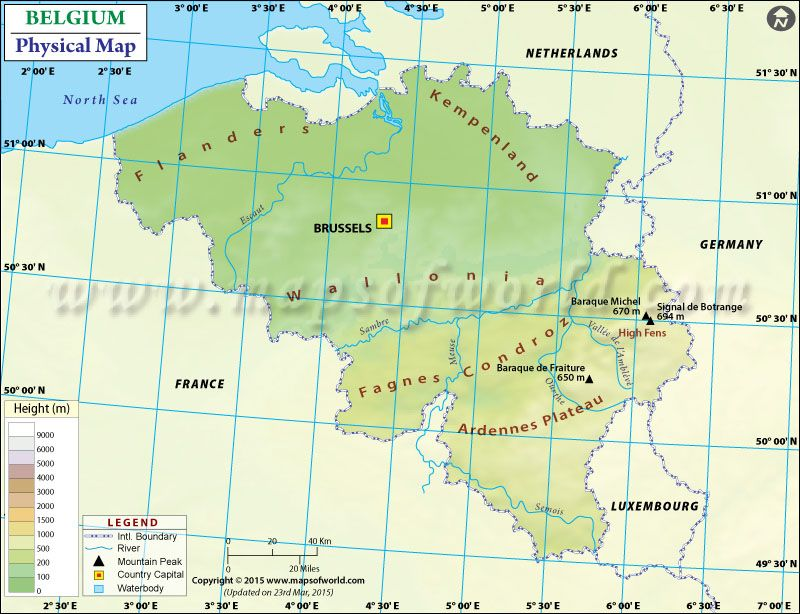 Physical #Map of #Belgium showing mountain ranges, plateaus, rivers - new ethiopian plateau on world map