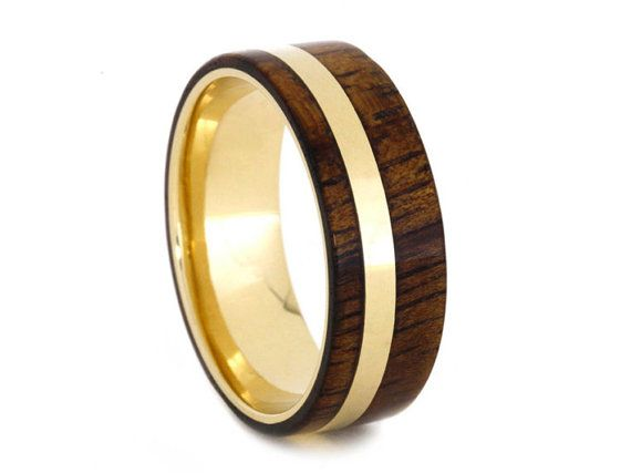 koa wood ring with yellow gold pinstripe and by jewelrybyjohan gold wedding bandsgold - Koa Wood Wedding Rings