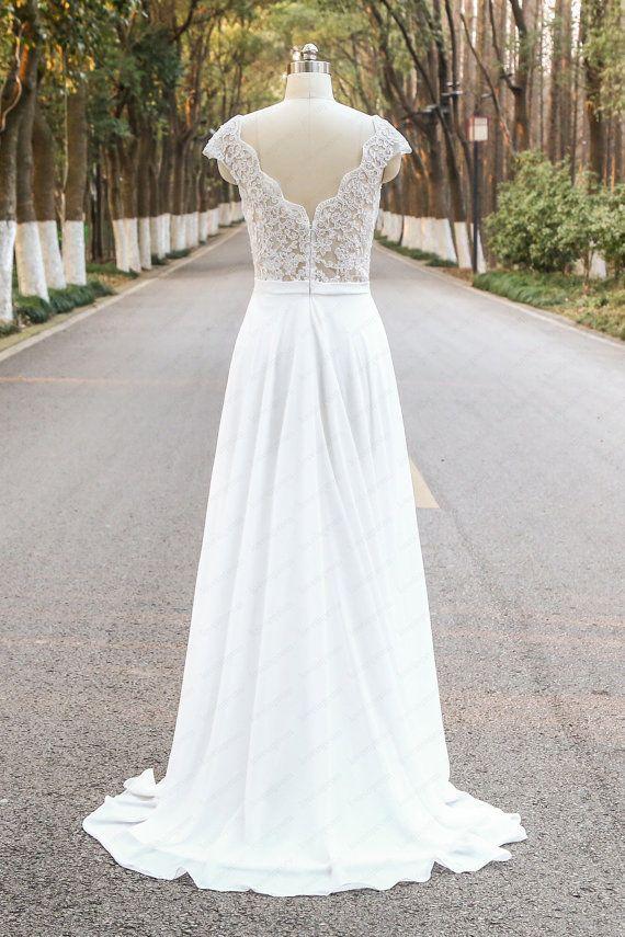 Cap mouwen Lace Dress handgemaakte Chiffon V-rug door loveinprom