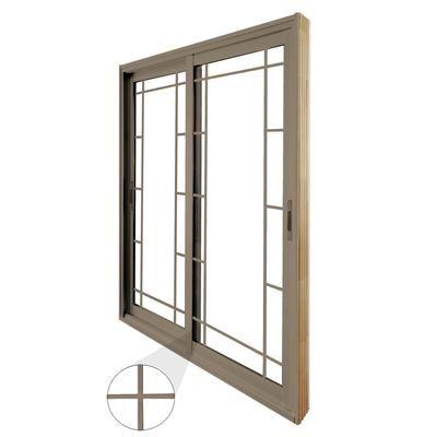stanley doors double sliding patio door prairie style internal grill 5 foot - 60 Sliding Patio Door