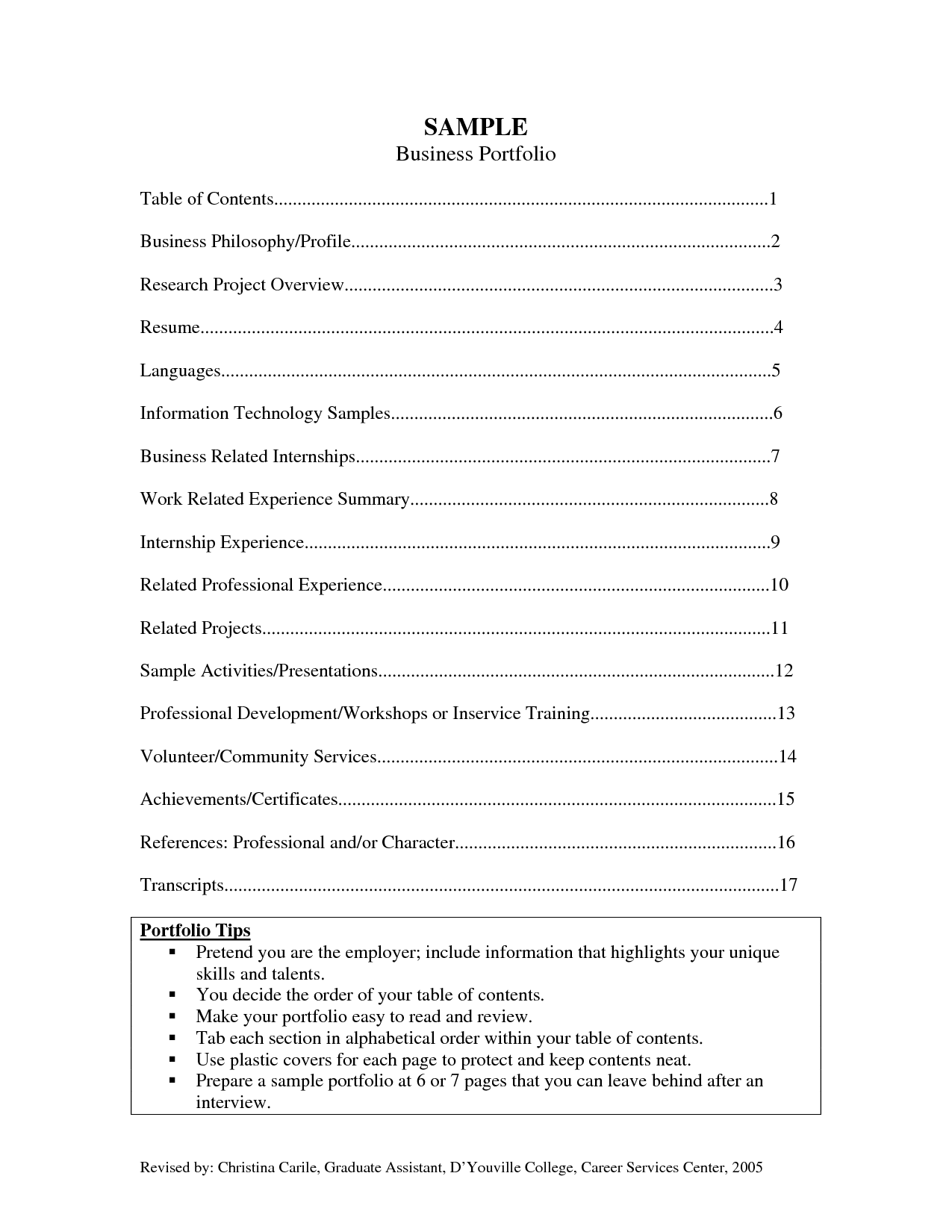 Career portfolio examples sample business career for Professional portfolio nursing template