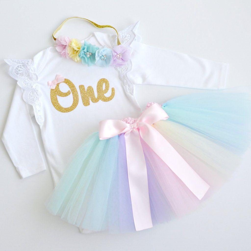 Pastel Rainbow Tutu & Gold Glitter 1st Birthday Outfit