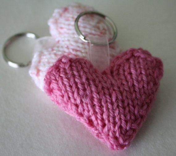 Knitted Love Heart Keyring Keychain Dark Pink By Printsandstitch