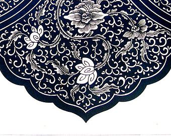 Ancient Chinese Ornament Design - From A Blue and White China Cistern - 1987 Vintage Book Page - 9 x 13