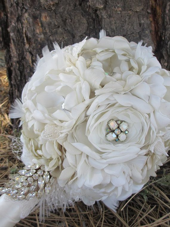 Handmade Ivory and Cream Fabric Flower Bridal Bouquet with Stunning ...