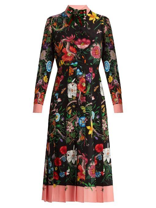 4046f9923b6 GUCCI Floral and snake-print silk midi dress. #gucci #cloth #dress ...