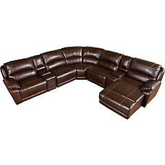 Cindy Crawford Home San Marco Brown Leather Match 7 Pc ...