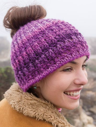 Crochet ponytail hat pattern. Recommended yarn is red heart unforgettable. 5dfdbe22404