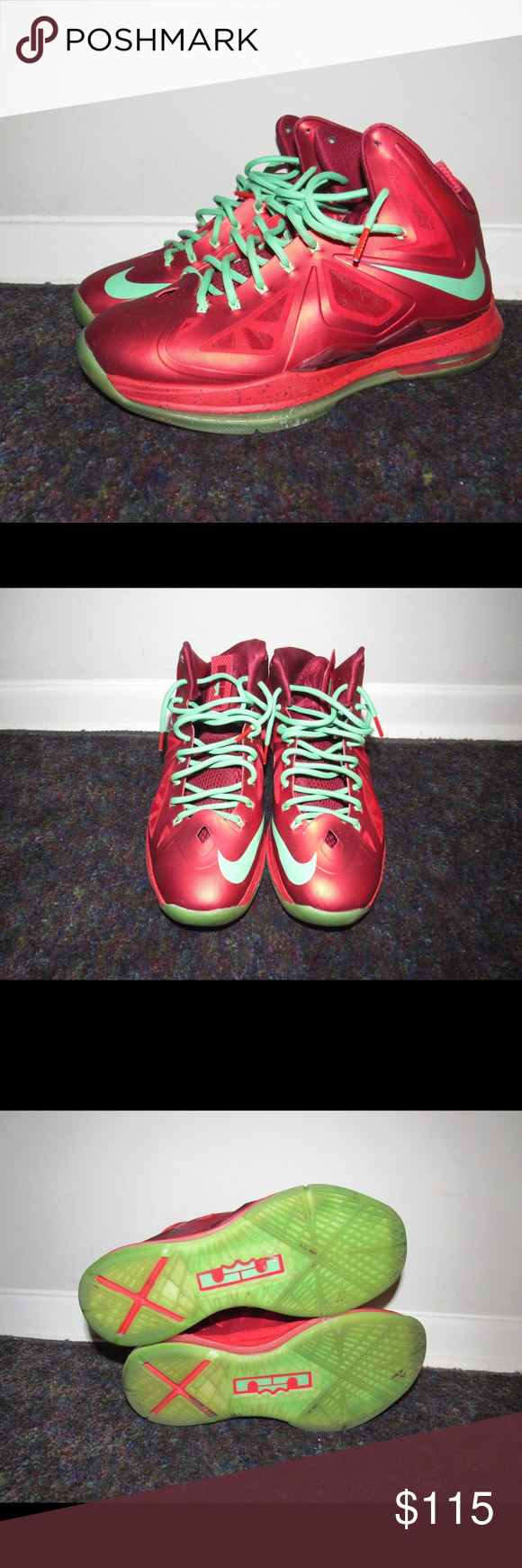 cheap for discount 90eee 6a294 NIKE LEBRON X TEN CHRISTMAS RED GREEN SIZE 9.5 - Used Nike Lebron X 541100-600  Basketball 10 Christmas Pack Red Tourmaline In Size 9.5 - Comes without ...