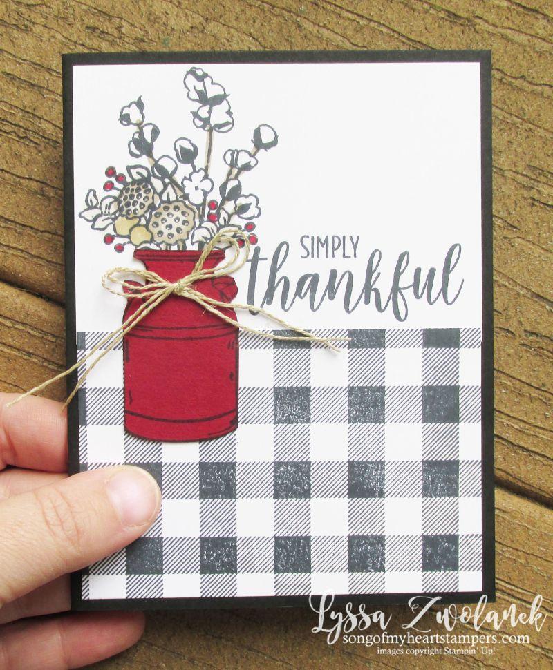 Buffalo check plaid background wool cotton bolls farmhouse style Joanna thankful Stampin' Up