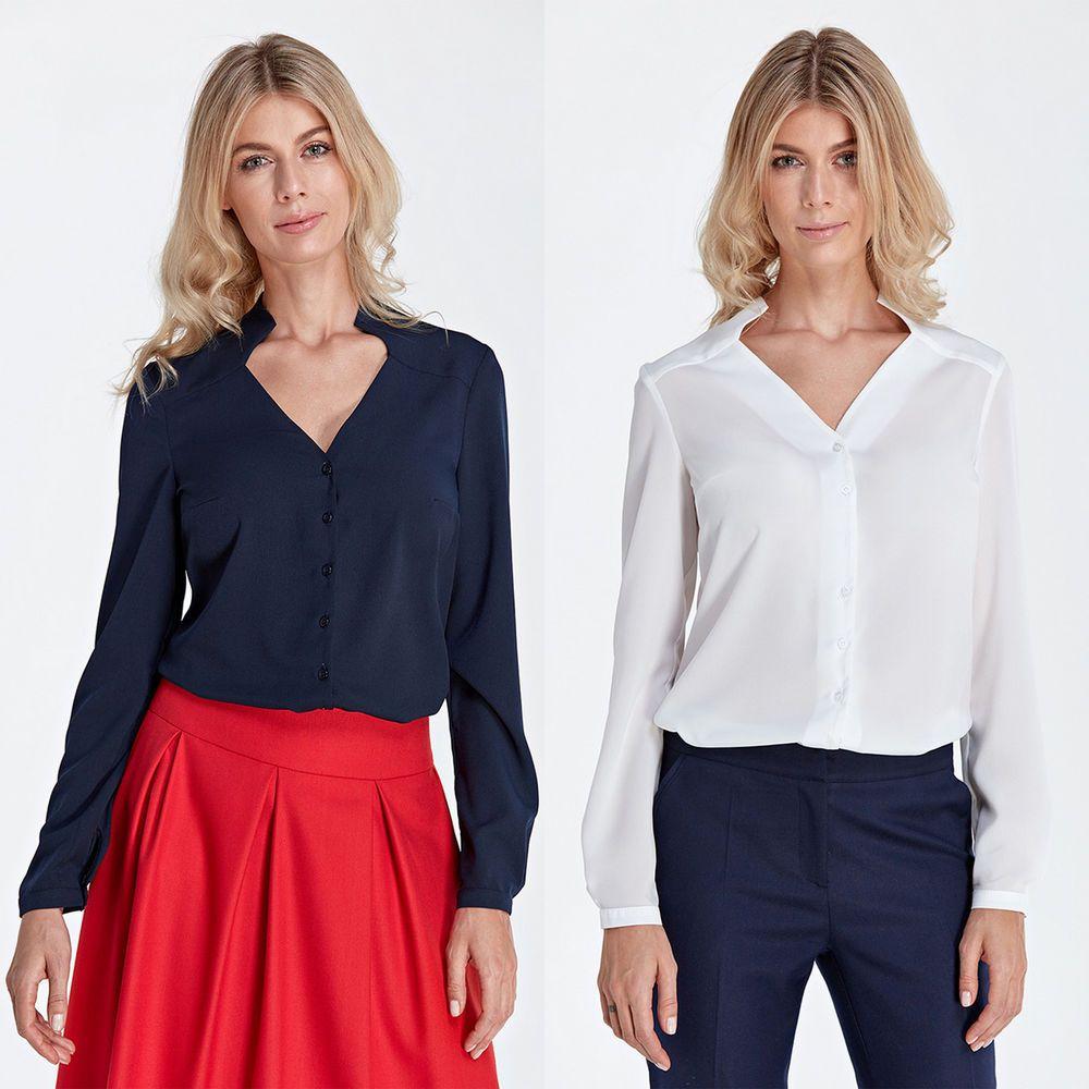 2e4be659d4e Haut femme chemise blouse chemisier blanc ou bleu original mode COLETT CB04   Chemisiers