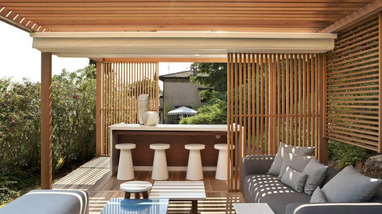 gartenmoebel-pergola-design-plissee-sonnenschutz-holzlamellen - interieur mit holz lamellen haus design bilder