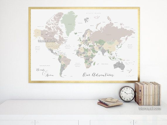Custom quote - PRINTABLE world map with country names and US states ...