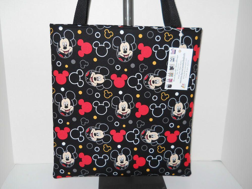 Tote Bag made w/Mickey  Mouse Fabric Handmade Handbag shopper New #Handmade #TotesShoppers SOLD