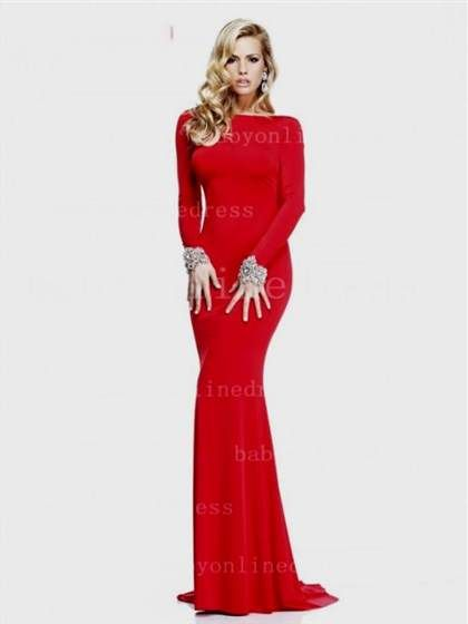 Cool long red prom dresses with sleeves 2017-2018   clothing ...