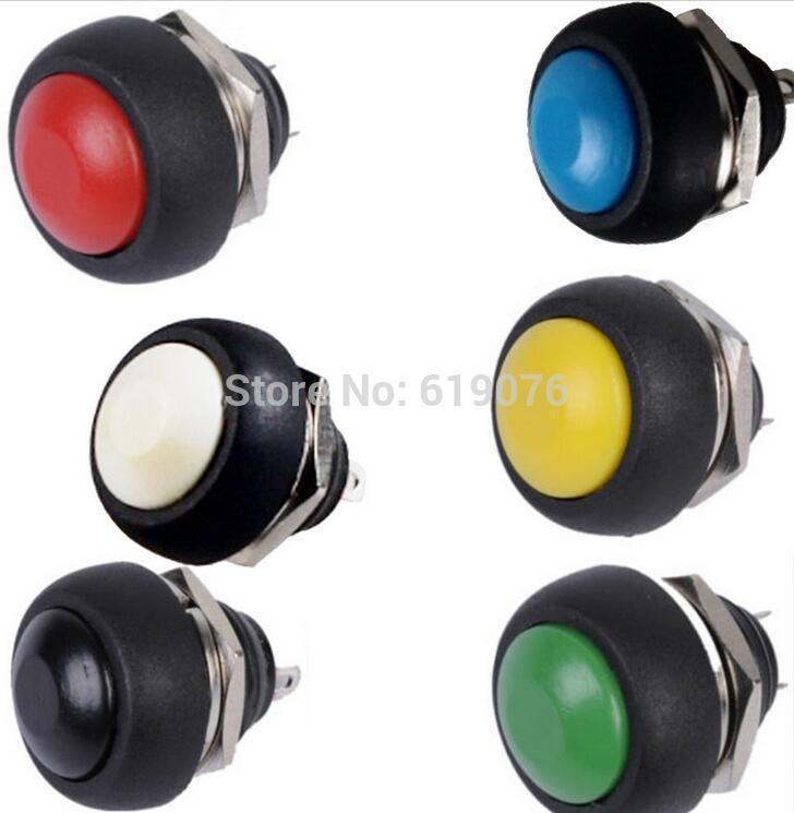 5Pcs 12mm Waterproof Momentary ON//OFF Push Button Mini Round Switch Black