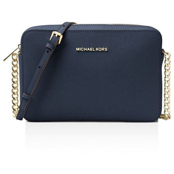 acd9b64bff66 Michael Michael Kors Jet Set Large Saffiano Leather Crossbody ( 148) ❤  liked on Polyvore featuring bags