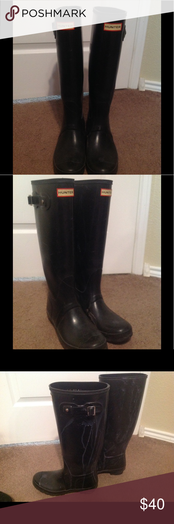 HUNTER RAIN BOOTS BLACK SZ 8 Good condition boots. Didn't wear much, but I am a painter and got some paint stains on them, may be able to get out, but selling for good price :) Hunter Shoes Winter & Rain Boots