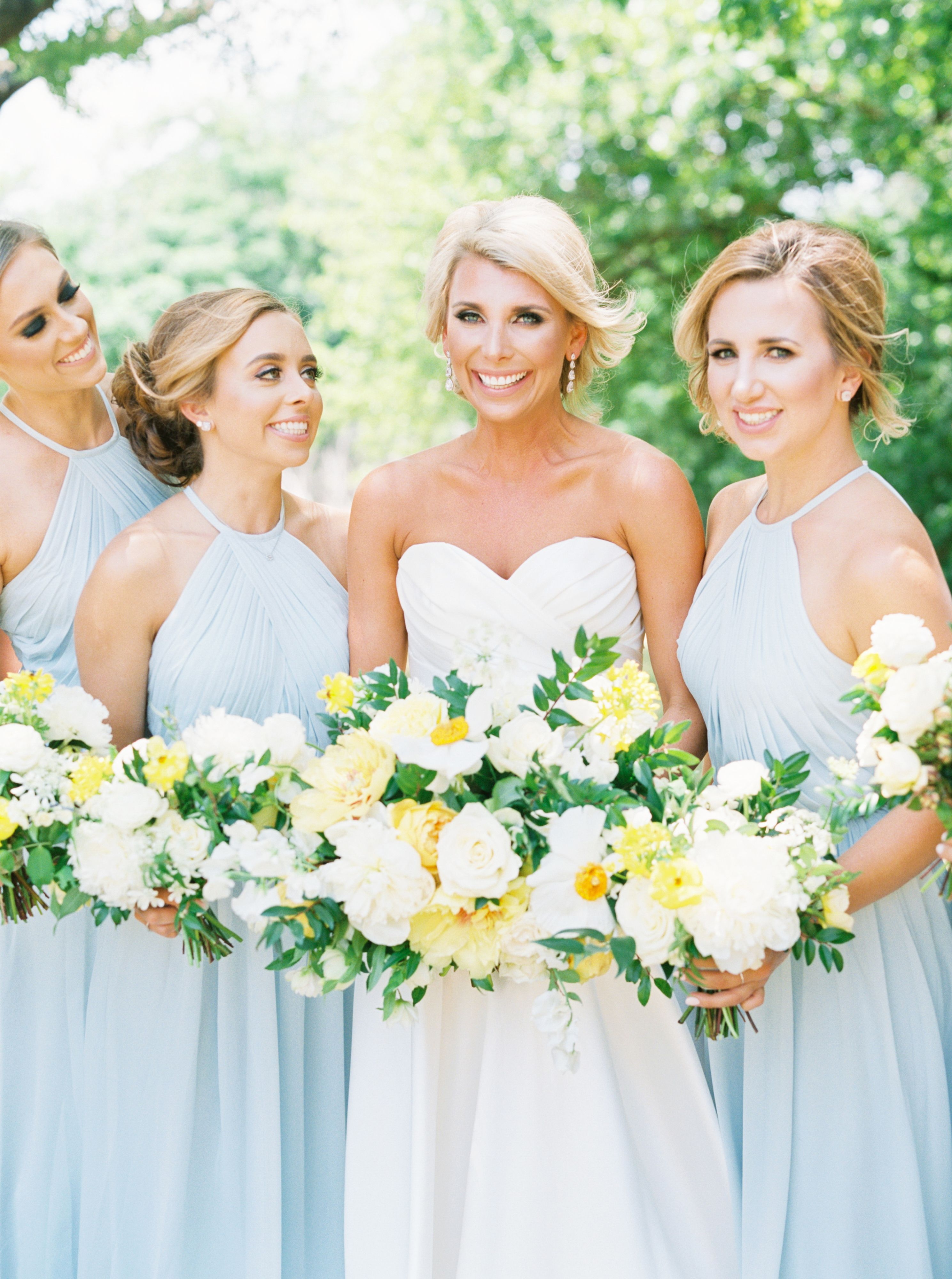 Light Blue Bridesmaid Dress Bridesmaid Dresses Bridesmaids Blue Southern Wedding Dove Ri Light Yellow Weddings Yellow Wedding Theme Yellow Wedding Flowers
