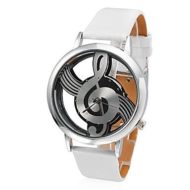 Women's Hollow Musical Note Styel Dial White PU Band Quartz Analog Wrist Watch – USD $ 6.99