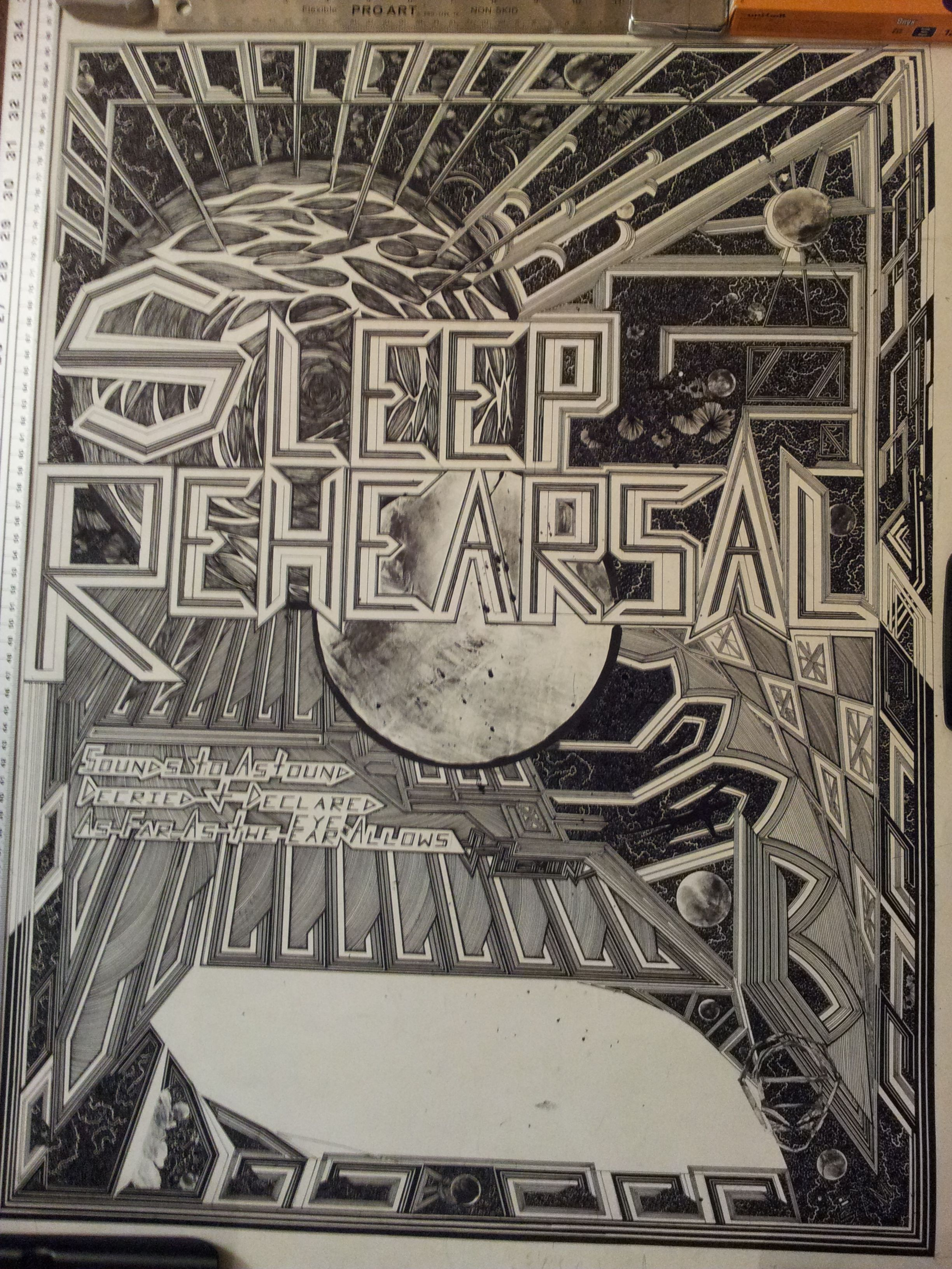 Finished concert poster for the band sleep rehearsal, time: 78 hours, 43min  i should've had it done earlier -____-  artist contact: spinswell@gmail.com  Sliding scale, ultra reasonable rates