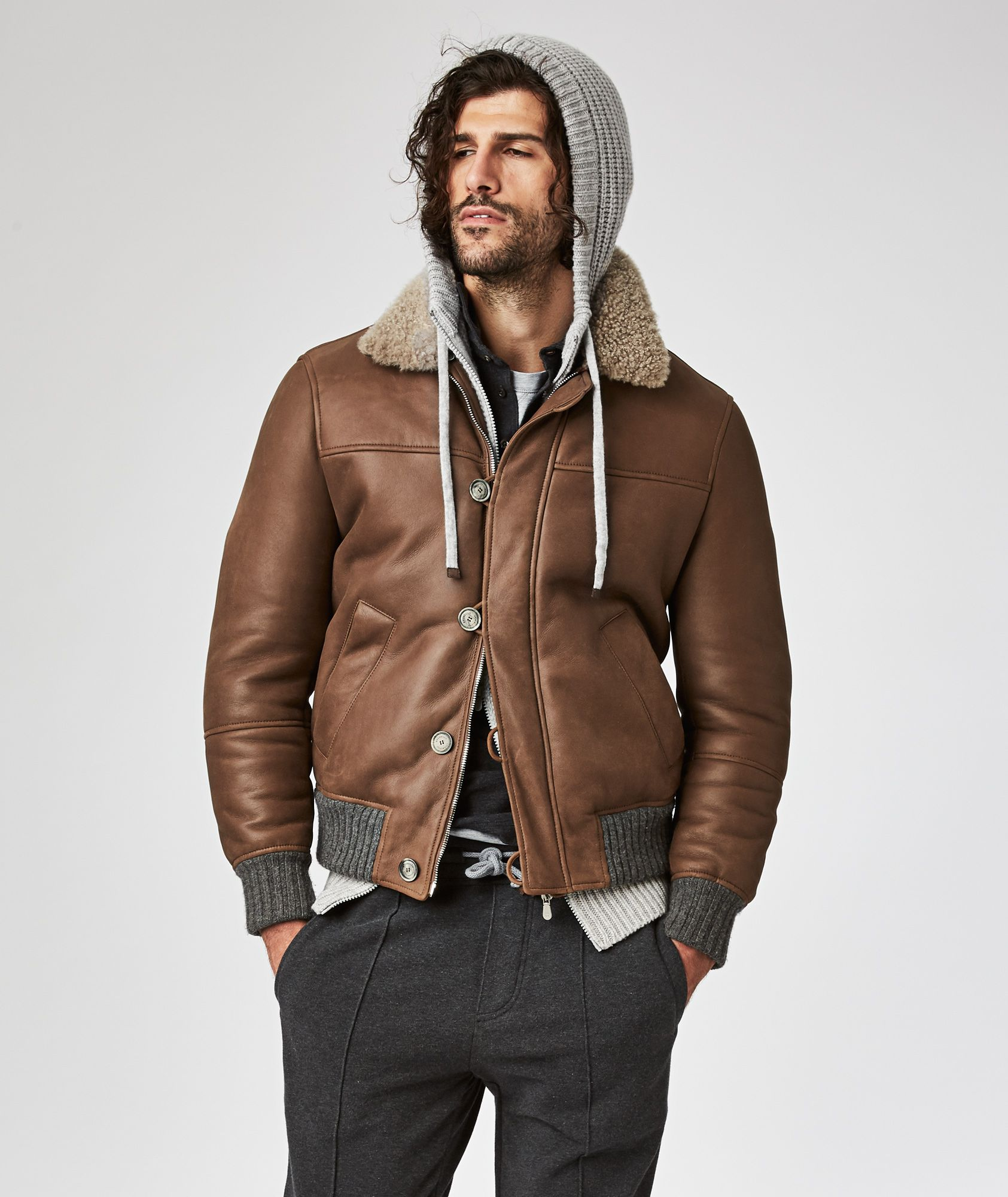 Brunello Cucinelli Shearling Trimmed Leather Jacket