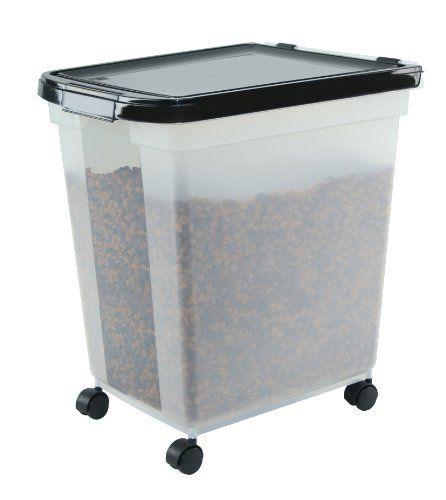 Iris Airtight Pet Food Container 50 Pound Clear Black