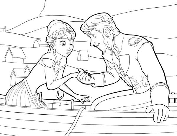 Anna And Hans On The Boat Coloring Page Free Printable Frozen Pages