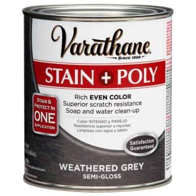 Varathane 1 Qt Weathered Grey Poly Wood Stain 271466 At