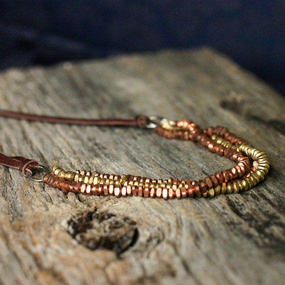 Metallic Leather Bib Necklace / Geometric Brass Copper by byjodi, $144.00